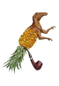 """Sir Dino Pineapple"" art print by Sandra Eterovic"