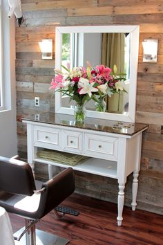 This is the look we are trying to duplicate for the new salon. The styling station and mirror are on their way.