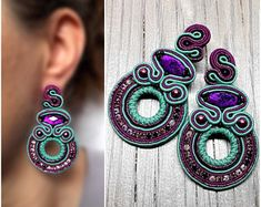 Soutache Turquoise Bright Pink Magenta Earrings Stud Long Earrings Round Large Dangle Earrings Bright Summer Earrings Big Gift Her Gipsy