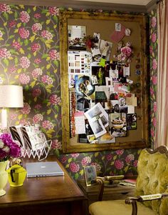 Home office floral wallpaper yellow chair and gilded gold frame board via cafecartolina