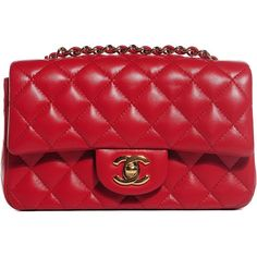 CHANEL Lambskin Quilted Rectangle Mini Flap in Red with Gold hardware ❤