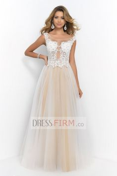 2015 Flamboyant Scoop A Line Ball Gown Floor Length Tulle with Appliques Empire Prom Dresses [2015BPD-39646] - £ 87.43 :