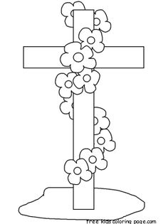 Printable Happy Easter Cross Coloring Page