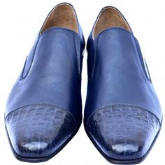 Astute San Marino Blue Elasticated Gores Premium Crocodile Leather Cap Toe Men Slip On Wedding Shoes sold by LeatherGuru. Shop more products from LeatherGuru on Storenvy, the home of independent small businesses all over the world. Leather Cap, Real Leather, Leather Shoes, Trendy Mens Fashion, Crocodile, Men Formal, Gorgeous Fabrics, Shoe Size Chart, Vegetable Tanned Leather