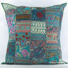 "20"" Gray Multicolor Indian Vintage Patchwork Throw Cushion Pillow Case Sham on RoyalFurnish.com, $17.99"