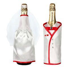 Как украсить бутылку шампанского на свадьбу с помощью ткани и других подручных материалов