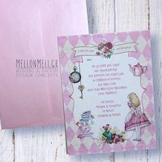 """Προσκλητήριο Βάπτισης """"Αλίκη στη Χώρα των Θαυμάτων"""" ροζ Concept, Wedding, Design, Valentines Day Weddings, Weddings, Marriage, Chartreuse Wedding"""