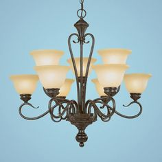$199.90 Devonshire Burnished Gold Nine-Light Chandelier with Florentine Scavo Glass