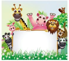 Funny animal cartoon set with blank sign - Stock Vector , Jungle Theme Birthday, Jungle Party, Safari Party, Safari Theme, Birthday Party Themes, Images Jungle, Thankful Tree, Free Vector Illustration, Borders And Frames