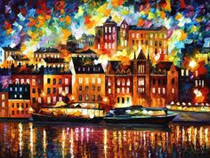 This is the best possible quality of recreation made by Leonid Afremov in person. The recreation is hand painted by Leonid Afremov using oil paint, canvas and palette knife. The certificate is signed by Leonid Afremov. Knife Painting, Oil Painting On Canvas, Painting Art, Oil Painting Reproductions, Palette Knife, Land Scape, Pop Art, Original Paintings, Oil Paintings