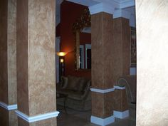 Columns in Venetian Plaster and Luster Stone.