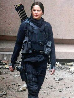 Katniss is back! Jennifer Lawrence gets into character (and armor!) filming scenes for The Hunger Games: Mockingjay, in France. http://www.people.com/people/gallery/0,,20816353,00.html#30154740