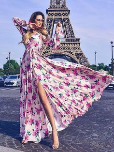 ab8de9b08e31 Floral V Neck and High Split Long Sleeve Maxi Dress