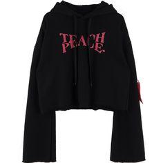 Statement Print Frayed Hem Hoodie ($70) ❤ liked on Polyvore featuring tops, hoodies, print hoodie, hooded pullover, cropped hoodies, print crop tops and sleeve hoodie