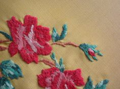 Vintage Tablecloth, beautiful yellow, hand embroidered - $20.00 - click for listing