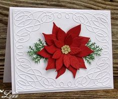 card christmas poinsettia flower pine branches branch Creative Crafts by Lynn: Poinsettia Christmas Homemade Christmas Cards, Christmas Cards To Make, Xmas Cards, Christmas Greetings, Homemade Cards, Handmade Christmas, Holiday Cards, Beautiful Christmas Cards, Poinsettia Cards