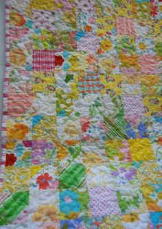 Vintage Bed Sheet Baby Girl Quilt Garden of by DreamyVintageSheets