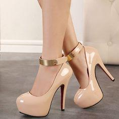Elegant Metallic Ankle Strap Nude High Heel Shoes