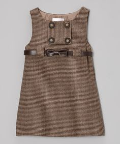 This Brown Houndstooth Shift Dress - Toddler & Girls is perfect! #zulilyfinds