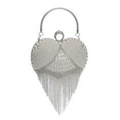 Good Value $20.10, Buy Tassel Rhinestones Evening Bag Finger Ring Diamonds Wedding Heart Day Clutch Handbags Chain Shoulder Party Pearl Christmas Gift