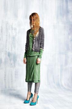 #danieladallavalle #collection #elisacavaletti #fw15 #grey #cardigan #green #shirt #skirt #blue #heels