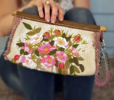 Handmade Clutch Wristlet with Vintage Crewel by LemondropDryGoods, $65.00