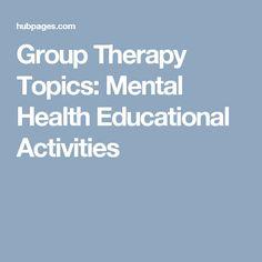 Group Ideas for Mental Health