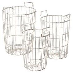 Perfect for stowing remotes and magazines in the den or extra hand towels in your guest bathroom, these metal wirework baskets showcase a distressed ivory finish for country-chic appeal. So says Joss and Main, but I want them to hold pillar candles in the gazebo.