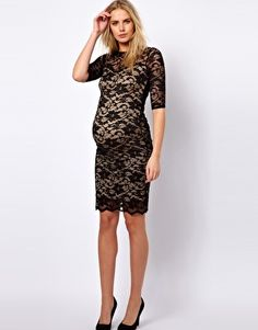 ASOS Maternity | ASOS Maternity Lace Dress With Cut-Out Back at ASOS