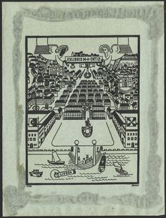 "Bookplate design by Kraus ""Printed in black on blue paper. Bird's-eye view of Lisbon."""