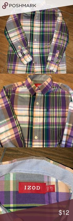 NWOT Izod size boys XL(7X) buttoned down shirt NWOT multi colored plaid buttoned down shirt in size XL (7X). In excellent condition Izod Shirts & Tops Button Down Shirts