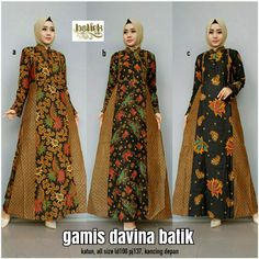 Y9 @145rb Women's Fashion Dresses, Hijab Fashion, Dress Batik Kombinasi, Batik Muslim, Muslim Women Fashion, Batik Fashion, Pakistani Couture, Muslim Dress, Batik Dress