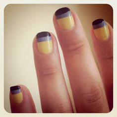 Yellow Blue and black striped Nails