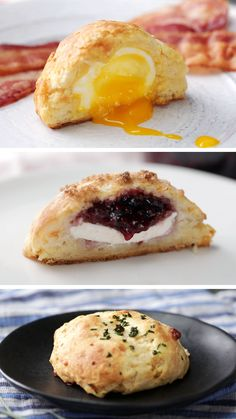 Now imagine them stuffed with cheese, jam, and even a soft boiled egg. Better, yes? Gourmet Recipes, Dessert Recipes, Cooking Recipes, Desserts, Pan Relleno, Buttery Biscuits, Good Food, Yummy Food, Easy Cooking