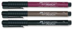 Faber Castell Pitt Calligraphy Pens. Set of 3, Assorted Colors (same ink as Pitt Artist Pens) also in Black,set of 3.