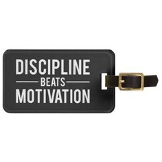 #Discipline Beats Motivation - Inspirational Bag Tag - #travel #accessories