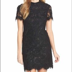 "Mock Neck Lace Sheath Dress A mock neck and scalloped fringe make modern updates to timeless lace for this tailored sheath. 36"" length ; Back zip closure; Sheer short sleeves; slightly stretchy lace. Beautiful dress! Brand new with tags Betsey Johnson Dresses"