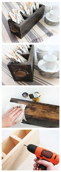 Silverware caddy for hosting the holidays - here's how to build it #WoodworkingPlansWineRack #woodworkingforbeginners