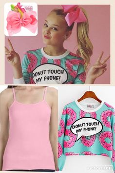 "Long-sleeve ""Donut touch my phone"" shirt: https://syndromestore.com/collections/phone-accessories/products/donut-touch-my-phone-long-sleeve-crop-top-sd01217?variant=20593600773  Bow: http://www.claires.com/us/products/jojo-siwa-large-pink-signature-hair-bow-39542  Tank top: http://www.clothesoutsale.com/ladies-sheer-tank-anvil-325.html"