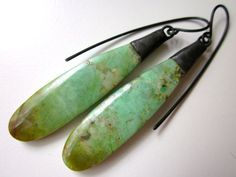 Make It Rain - primitive organic long pale minty green teal chrysocolla flat stone slabs, industrial soldered black metal bead cap earrings by LoveRoot - handmade - jewelry - jewellery - artisan