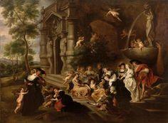 Ecole Flamande du XVIIème siècle, suiveur de Pierre Paul Rubens - Le Jardin [...], Tableaux Anciens, Objets d'Art, Bel Ameublement à Eve Enchères SVV   Auction.fr