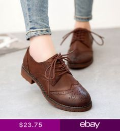 buy popular b3596 777f3 Retro College Girl Womens Oxford Brogues British Lace Up Low Heels Wingtip  Shoes Wingtip Shoes,