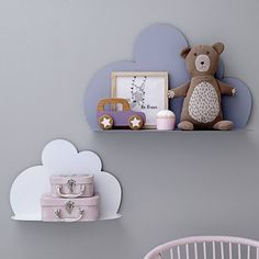 These Cloud Shelves make a stunning addition to any bedroom or nursery. Keep your head in the clouds with these delightful cartoon cloud-shaped shelves. Cloud Shelves, Large Shelves, Metal Shelves, Floating Shelves, Girl Room, Girls Bedroom, Bedroom Decor, Nursery Shelves, Dreams