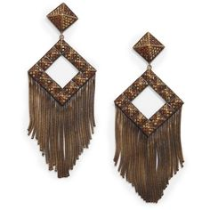 joanna laura constantine Pave Pyramid Stud Fringe Earrings ($78) ❤ liked on Polyvore featuring jewelry, earrings, accessories, brincos, bronze, pyramid stud earrings, pave jewelry, fringe jewelry, post earrings and joanna laura constantine jewelry