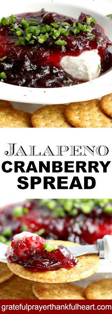 You and your guests will love Jalapeno Cranberry Spread. Quick and easy recipe and a perfect appetizer for holiday entertaining or Super Bowl watching with friends. New Years Appetizers, Spicy Appetizers, Bread Appetizers, Thanksgiving Appetizers, Appetizer Party, Vegan Thanksgiving, Thanksgiving Ideas, Party Snacks, Appetizer Recipes
