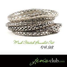 Mesh Stretch Bracelets (Set of 7) - Silvertone
