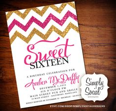 Glitter Glam Sweet 16 Birthday Party by SimplySocialDesigns, $20.00