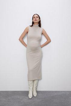 VESTIDO MIDI PUNTO Zara Home Stores, High Collar, Maternity Fashion, Knit Dress, Knitwear, Normcore, High Neck Dress, Dresses For Work, Knitting