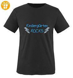 Comedy Shirts - Kindergarten rocks - BLITZE - Jungen T-Shirt - Schwarz / Blau-Eisblau Gr. 86/92 - Shirts mit spruch (*Partner-Link)