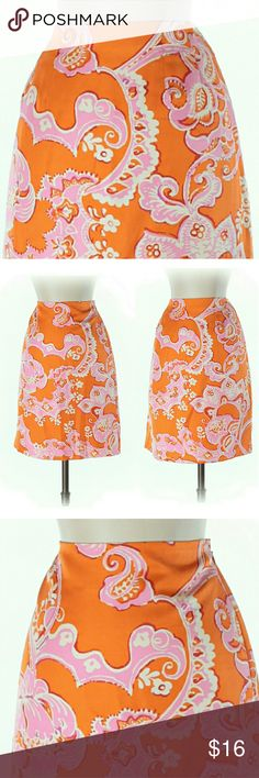 """✴️ Ann Taylor Printed Skirt This is a brightly printed gorgeous Ann Taylor Classic A-line skirt.   It is 14"""" in length   100 % polyester   Size 6 Ann Taylor Skirts"""